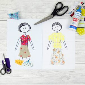 Five fab printables for scrap fabric paper dolls, inspired by the vintage paper dolls. A fantastic DIY kids craft to recycle and reuse scrap fabric. Scrap fabric paper dolls are such a fun DIY craft for children and a great way to practice scissor skills. Kids can also colouring them in or even dress them with scrapbooking paper.