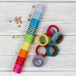 Rainbow rainmaker or rainstick – Cardboard tube craft