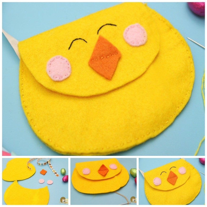 Cute Felt Chick Purse   This cute felt chick purse is the perfect introduction in to sewing. A simple DIY craft sewing project to hold your kids Easter eggs this Spring.