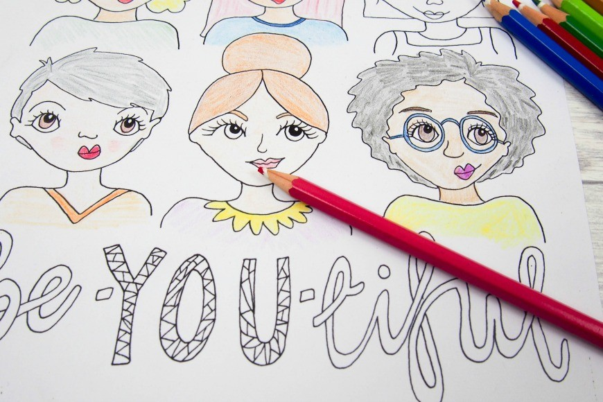 Free Beautiful Colouring Page Or Be YOU Tiful Coloring For Adults Another