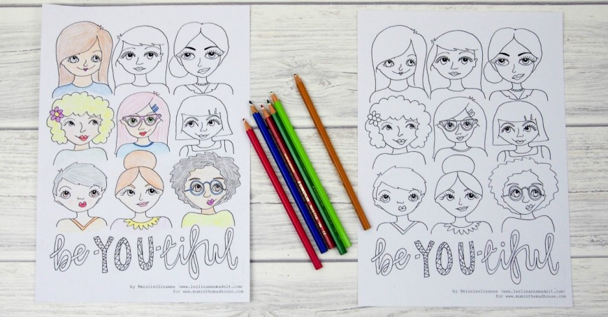 Free Beautiful colouring page or Be-YOU-tiful coloring page for adults. Another free colouring page from mum in the mad house. Adult colouring is all the rage at the moment and this colouring page is perfect for tweens and teens too