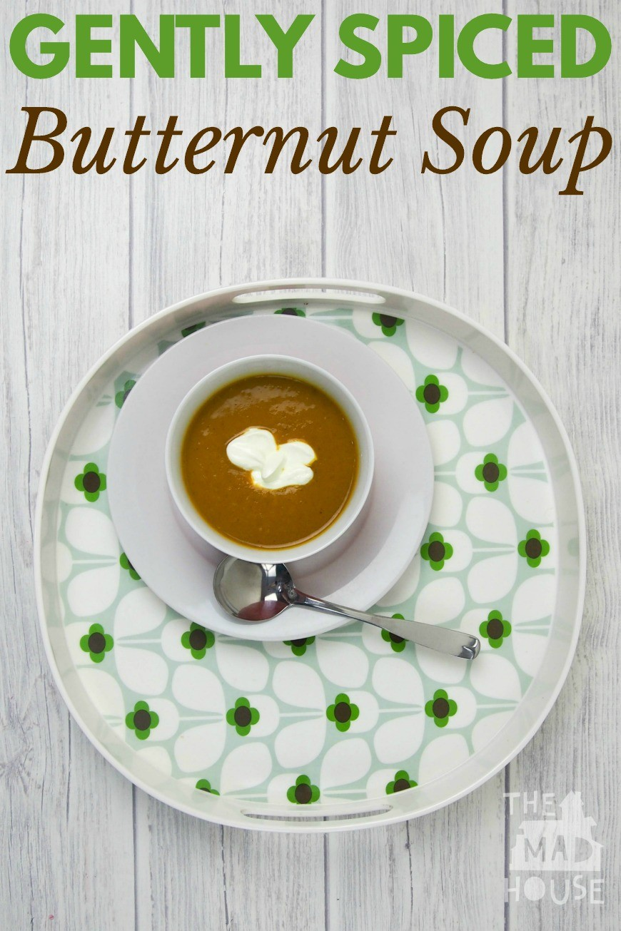 Gently spiced butternut soup. This recipe if perfect for cooking with kids and is a delicious and simple soup. Help your children to develop valuable life skills and expand their plate with this spiced butternut soup.