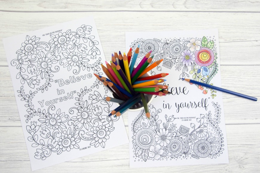 Intricate Coloring Pages For Adults : Believe in yourself adult colouring pages mum in the madhouse