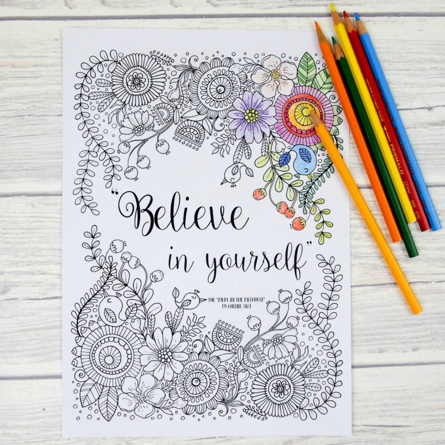 Believe in yourself adult colouring