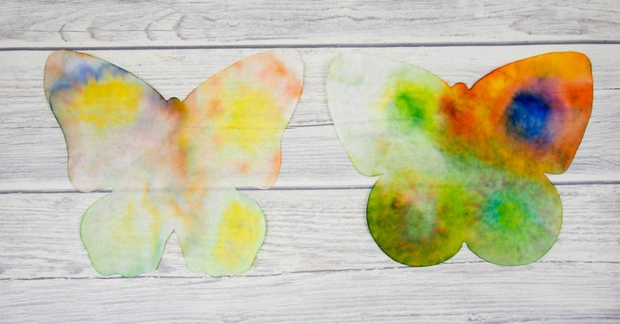 This butterfly rain art is a super process art activity for kids and a great way to investigate the science of colour