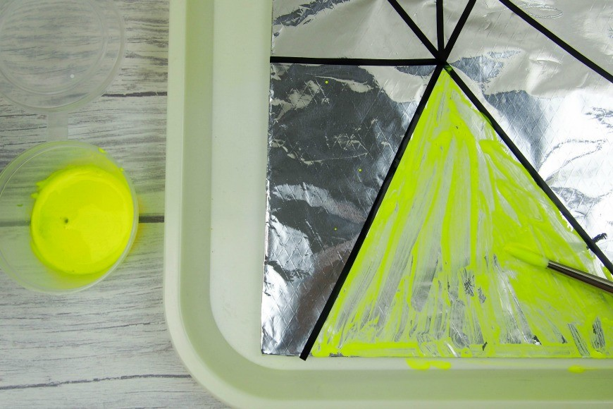 A fabulous faux stained glass art activity for children. This is a fun and simple process art activity that is great for tweens and teens. With a fab tip for making sure the paint doesn't flake and for keeping clean up simple and easy.
