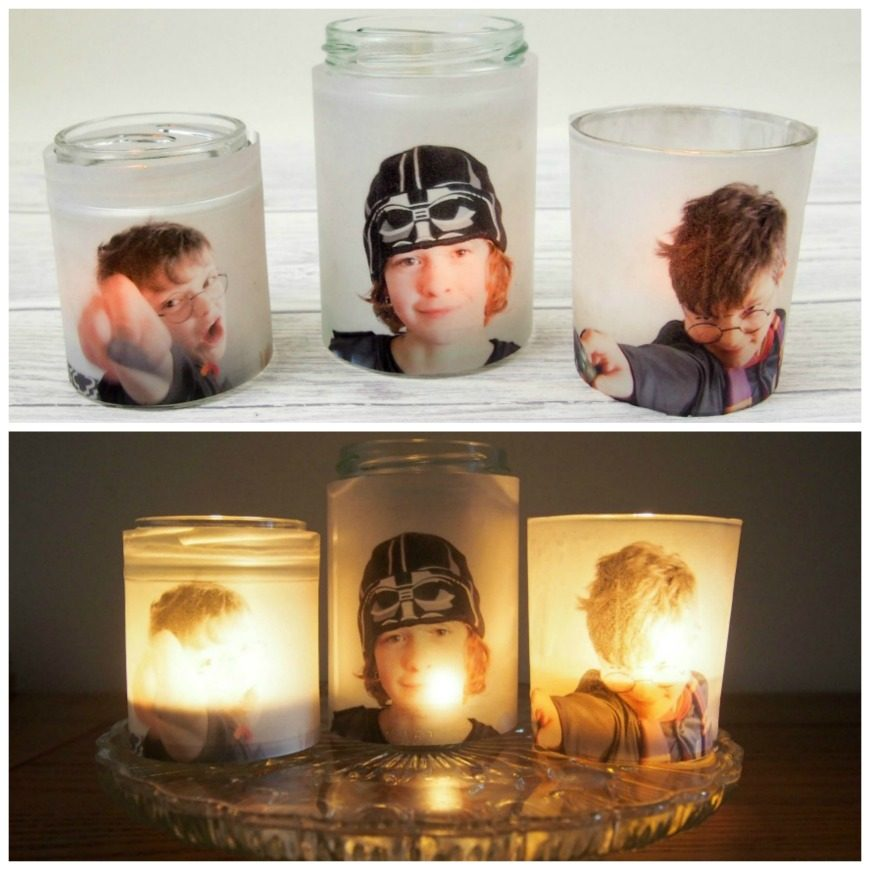 Upcycle glass jars into a stunning glowing photo jar luminaries. This beautiful photo luminaries glow when you add a candle and make the perfect gifts. What a fun DIY craft.