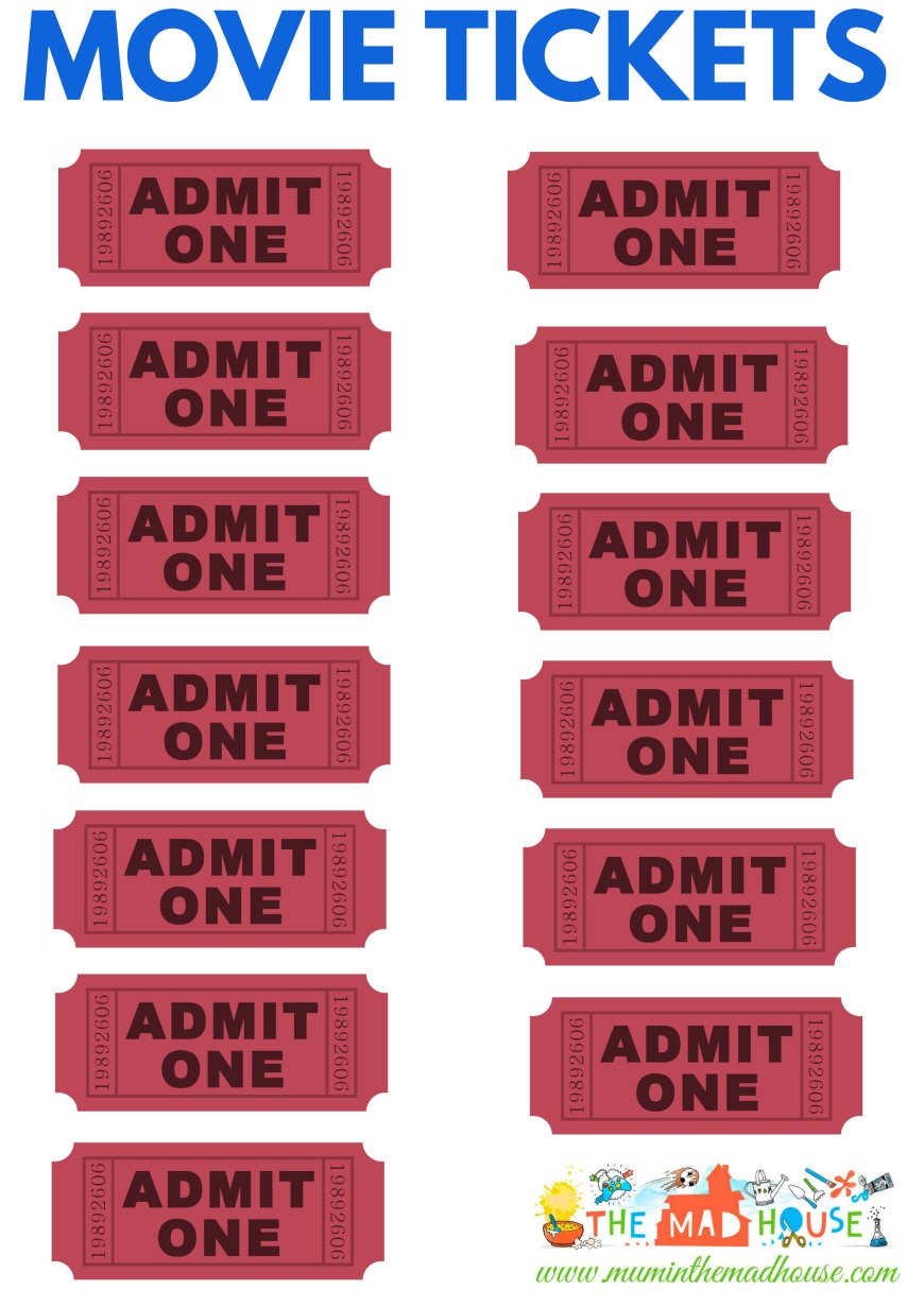 image relating to Printable Movie Tickets identify Video clip tickets printable - Mum Within just The Madhouse