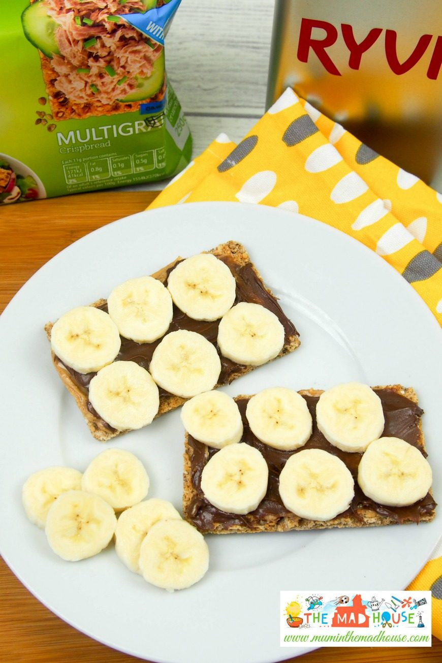 Peanut Butter, Hazelnut and Banana Crispbreads. This simple sweet lunch is a great way to get the kids involved in the kitchen.