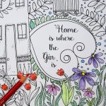 Free Irreverent Adult Colouring Page – Home is where the gin is