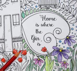 Free Irreverent Adult Colouring Page - Home is where the gin is