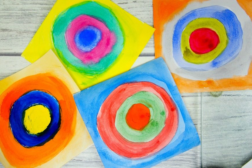 Kandinsky For Kids Concentric Circles In Squares Mum In