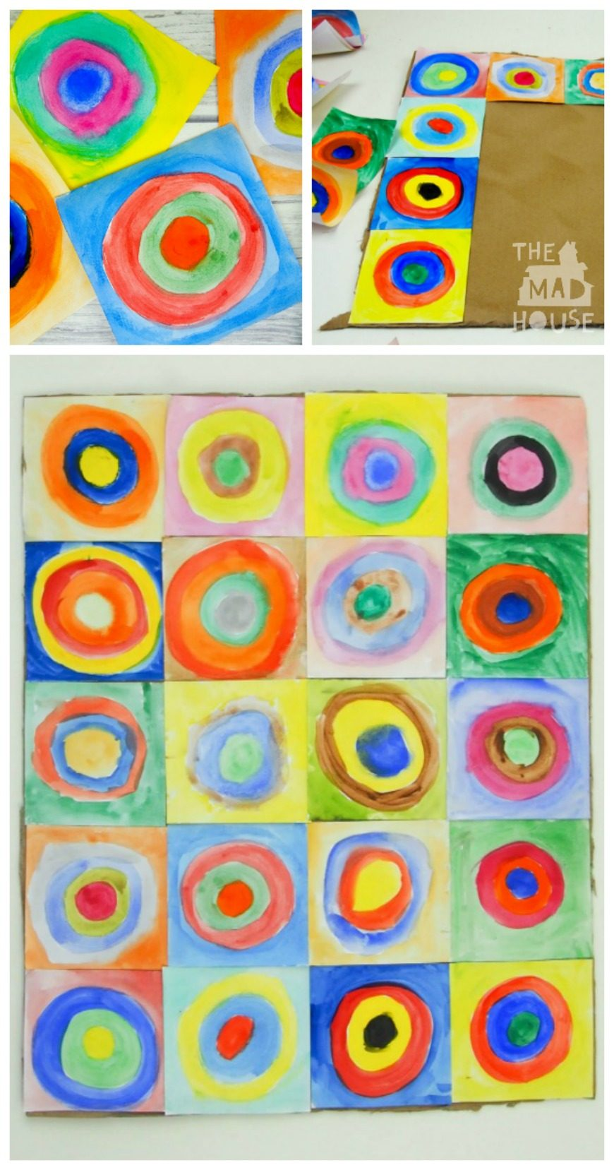This beautiful piece of collaborative art is inspired by the works of Vasily Kandinsky. It is a fantastic way to introduce children to the work of an artist and a fun craft DIY for all the family. Kandinsky for kids - concentric circles in squares