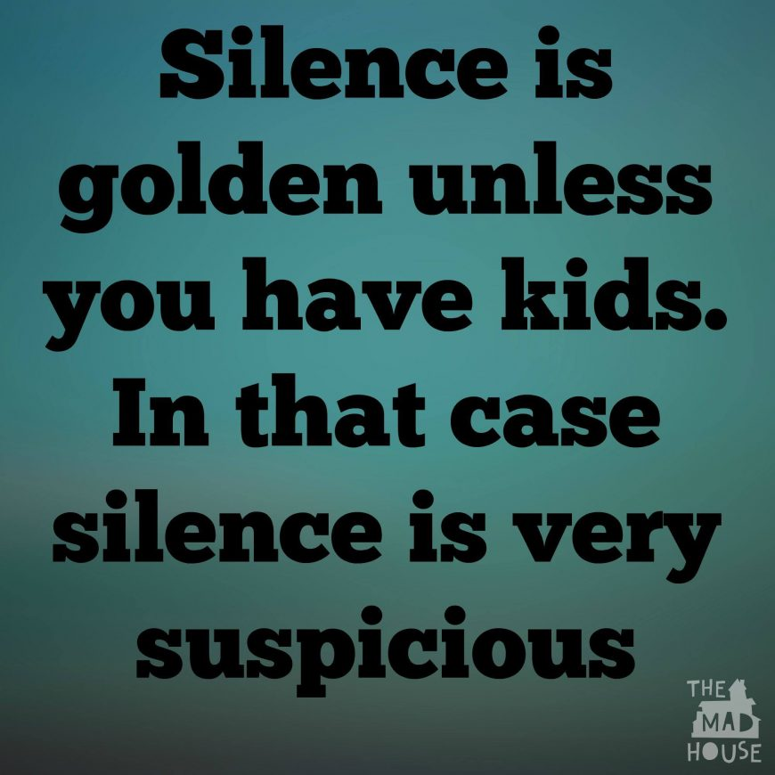 """Who ever said that """"Silence is Golden"""" must never have had children. Silence in my house means that the boys must be up to something."""