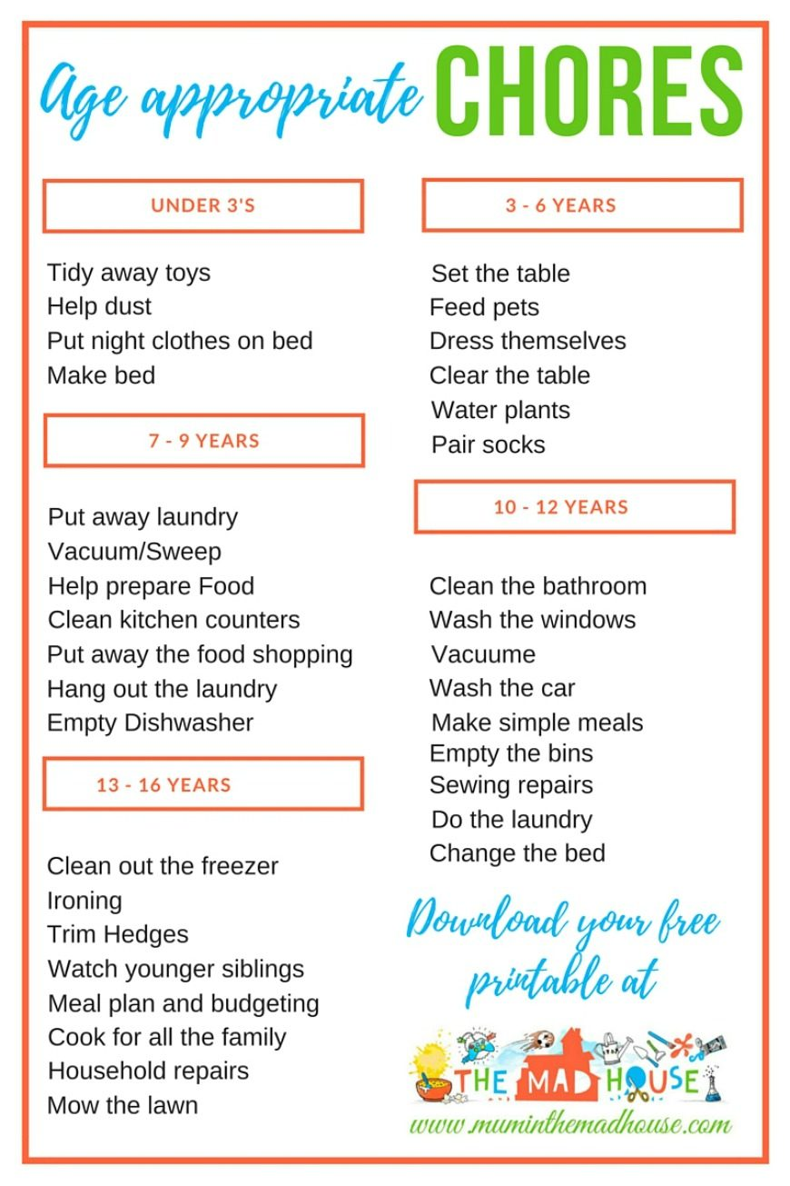 Age Appropriate Chores for Children: Having chores for kids to do sets them up for success in many areas of life,. Here's a guide to where to begin and how to be successful.  Also a fab free age appropriate chores printable.