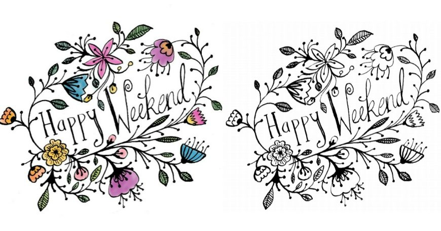 Free Happy Weekend Colouring Page - celebrate the weekend with this beautiful adult colouring page by Tasha Goddard for Mum in the Mad House. A stunning free printable adult colouring page perfect for celebrating the weekend.