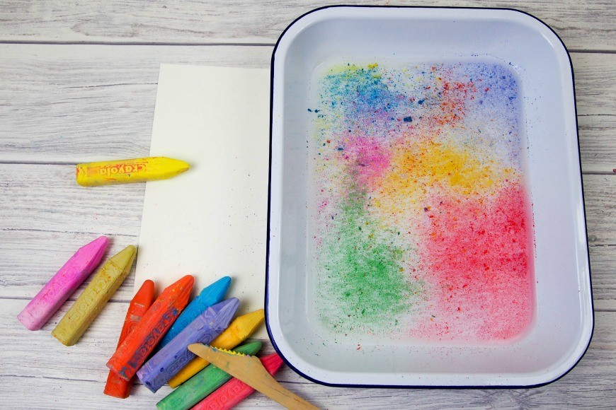 Floating chalk prints. A super simple process art project that gives great results and is fun to do. This kids craft activity is a great way of demonstrating surface tension too. I love it when creativity and science meet.
