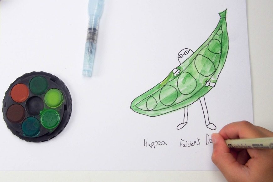 Make sure you wish your dad a hap-pea Father's Day with our Simple Father's Day Card designed by Maxi aged 11. Download, print and colour for free.