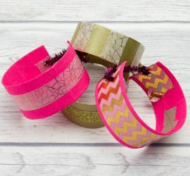 Washi Decorated Toilet Roll Bracelets or Cuffs