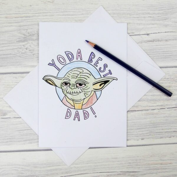 Yoda Best Dad Colouring Cards