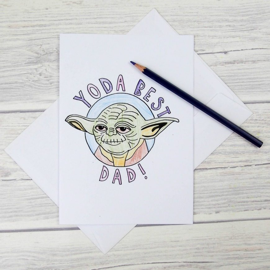 "Is your Father the best? Tell him this Father's Day with these Star Wars inspired Yoda Best Dad Colouring Cards. ""Best your Father is""!"