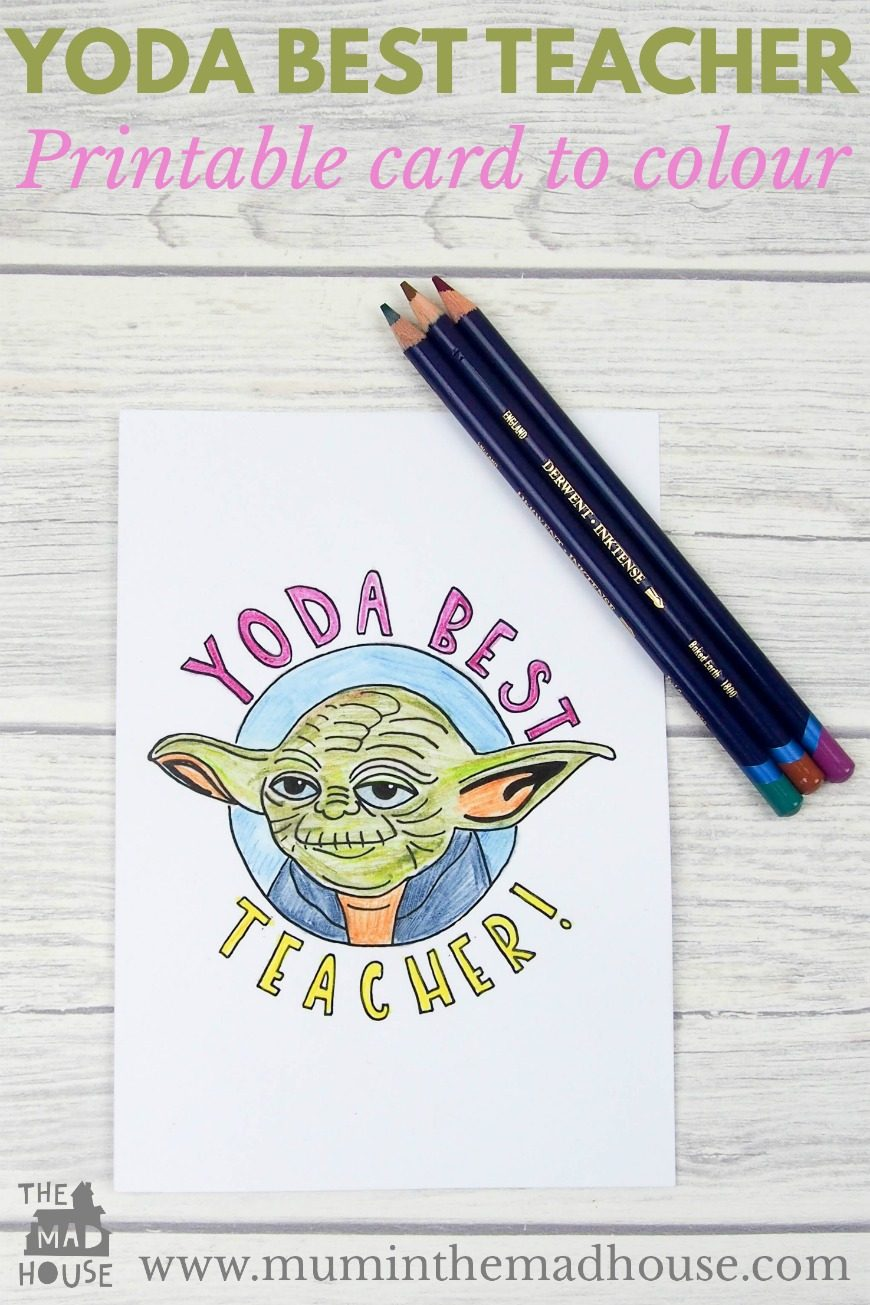 Show your teacher your appreciation with this Star Wars inspired Yoda Best Teacher Card to print off and colour in. Perfect for kids of all ages.