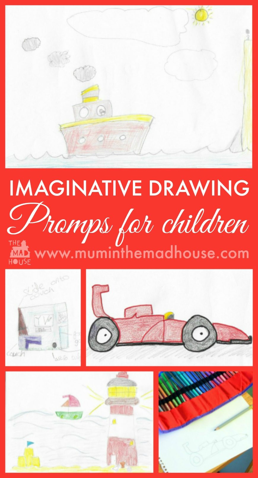 Colouring promps for imaginative drawing with children.  Ideas to get creative with your kids. Think of a fun starting point and then get the kids to draw - here we asked what they would do with £5000
