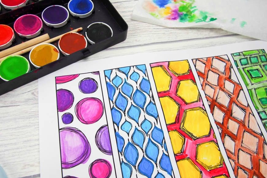 DIY Colouring Page Bookmarks