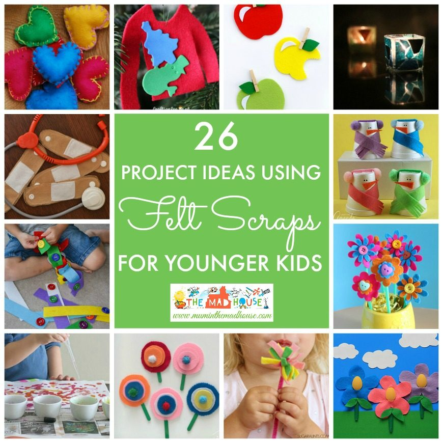 26 Project ideas using felt scraps for younger children. Fantastic DIY crafts and activity ideas for toddlers, preschoolers and younger children.