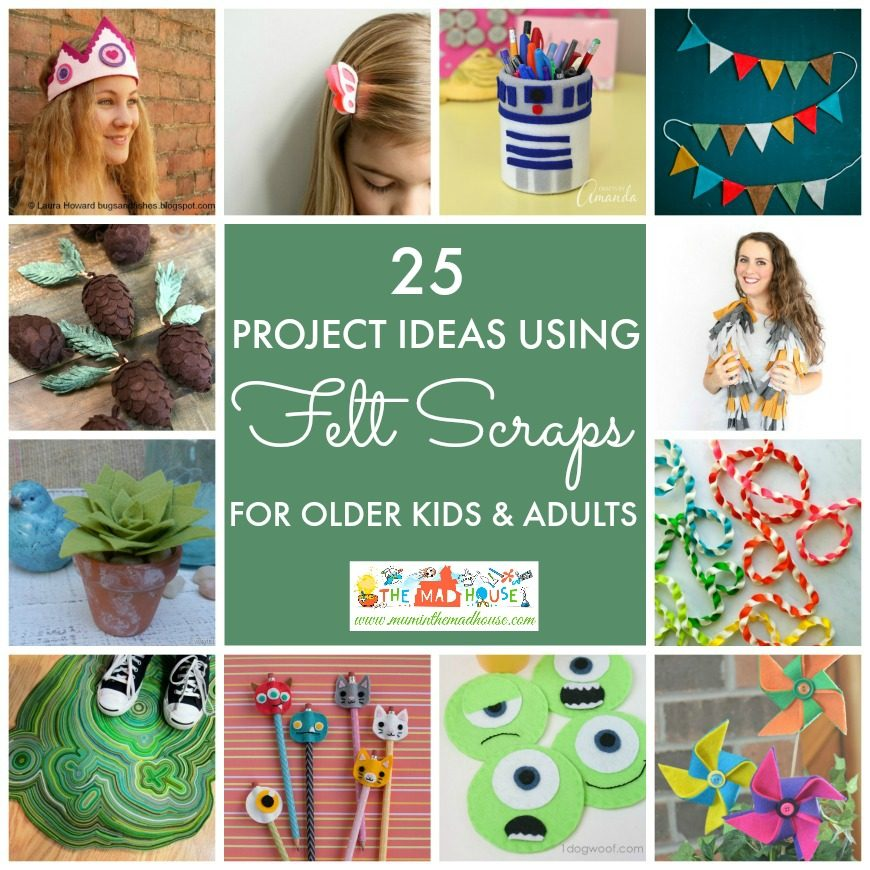 25 Project ideas using felt scraps for tweens, teens and adults. A fantastic selection of arts, crafts and homemade gift ideas made out of felt.