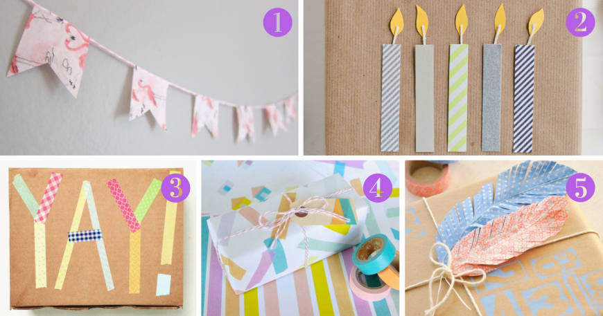 There really is no limit to how you can use washi tape in gift-wrapping, here are five favourite washi tape gift wrap ideas for inspiration.