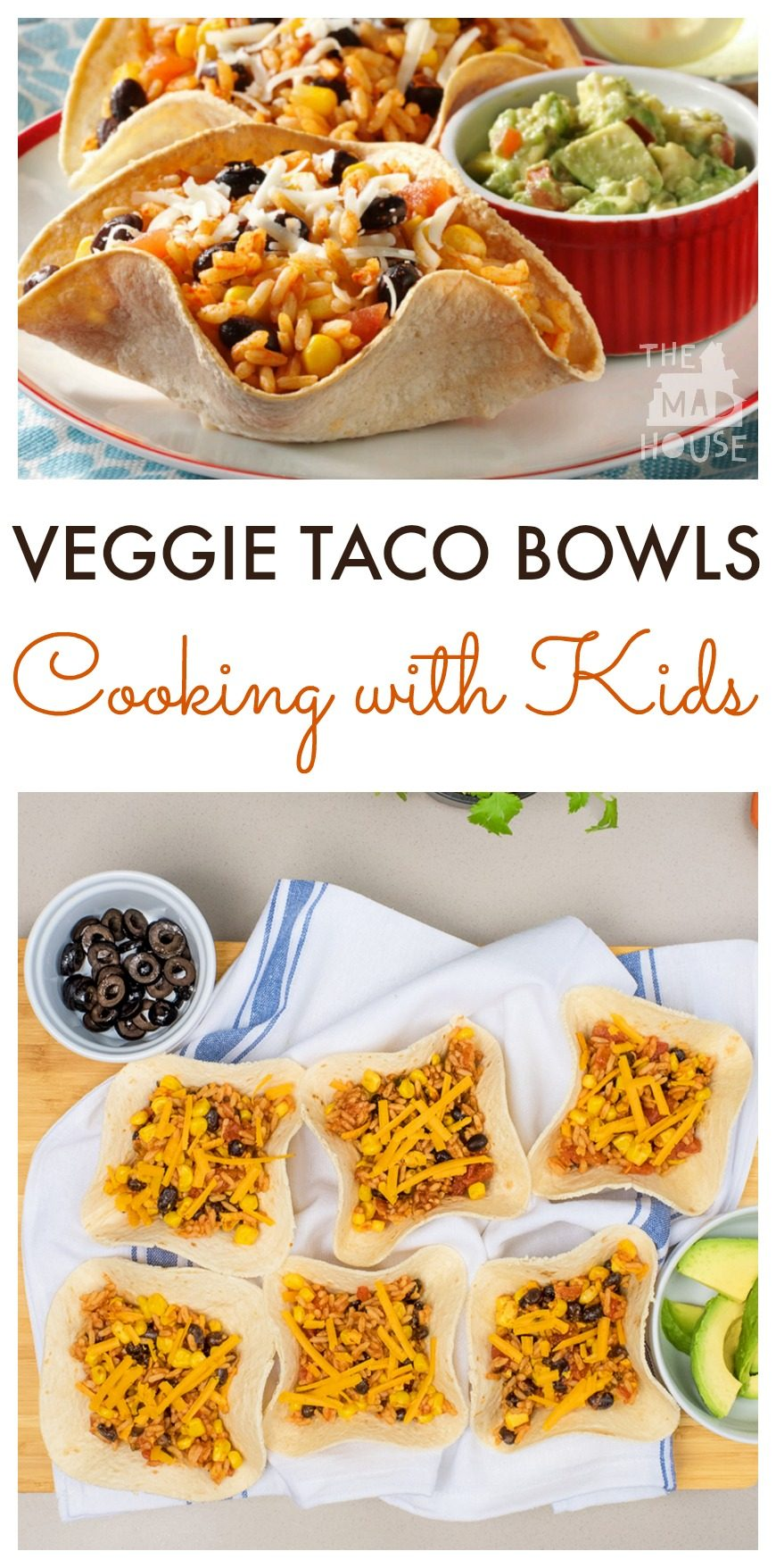 These Veggie Taco Bowls are super simple to make and perfect for cooking with the kids. A simple, delicious and versatile meat-free family meal