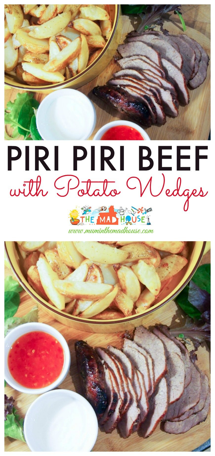 Piri Piri Beef and Wedges, a delicious, simple and flavourful roast beef recipe perfect for a midweek mini roast or for cooking with children. This family meal will become a regular family favorite.