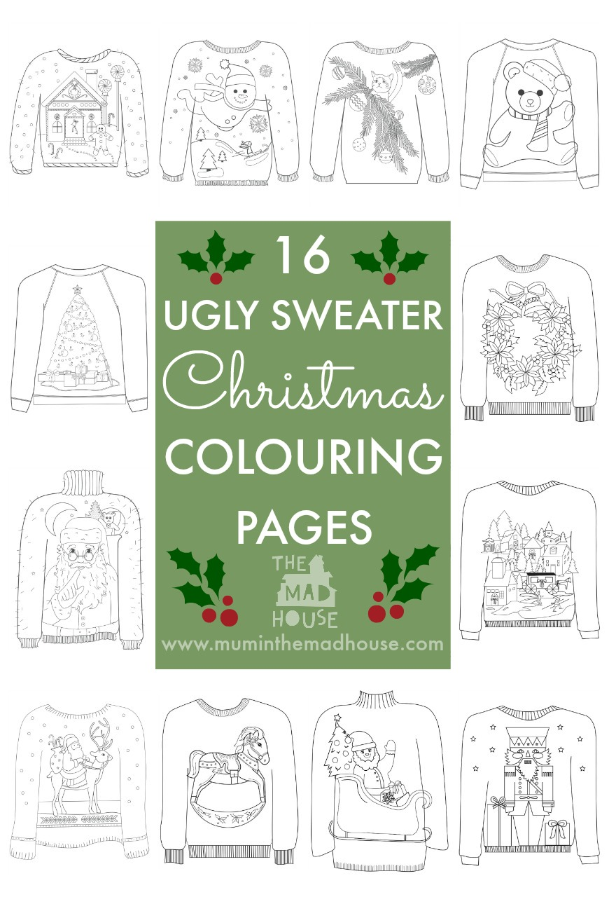 16 Ugly Christmas Sweater Colouring Pages - Mum In The Madhouse