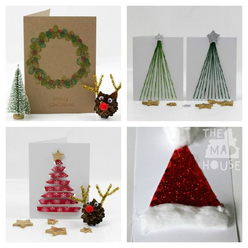 Christmas Cards ribbon Santa Hat Wreath Ribbon Tree