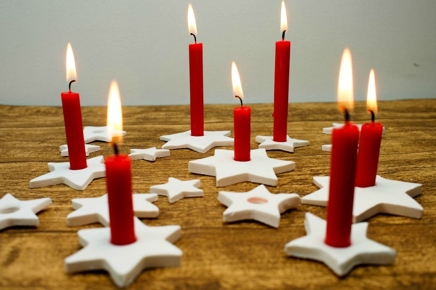 Diy Candle Holders Part - 30: DIY Clay Star Candle Holders