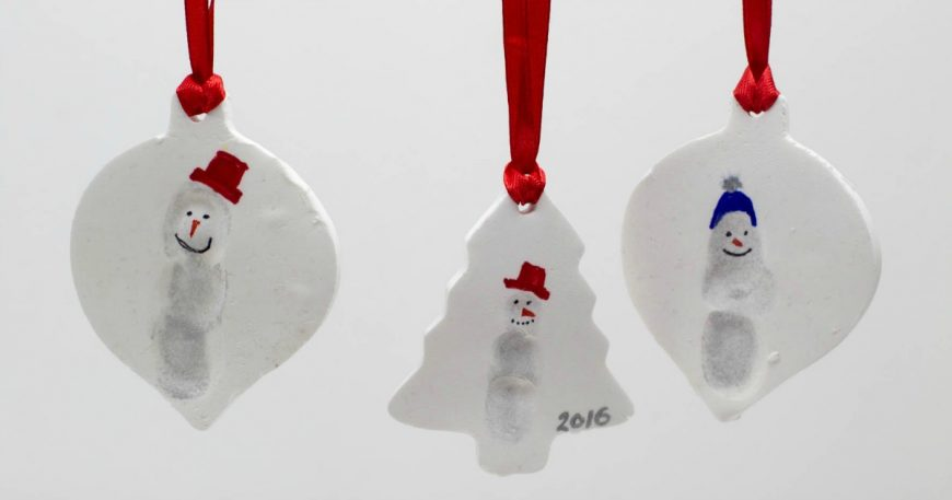 DIY Fingerprint Snowmen Christmas Ornaments