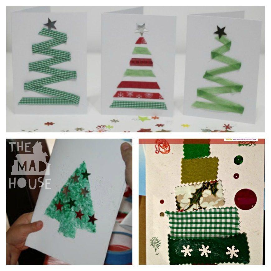 Fabric Christmas Card Ribbon Christmas card