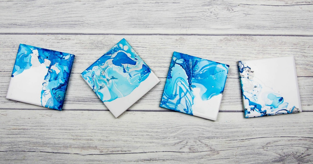 Nail Varnish Marbled Coasters Mum In The Madhouse