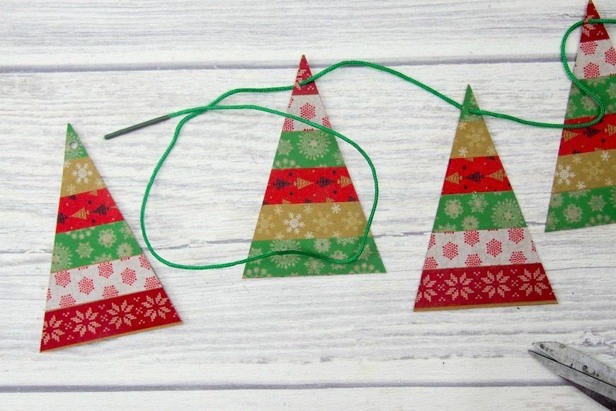 Simple Washi Tape Christmas Trees Garland