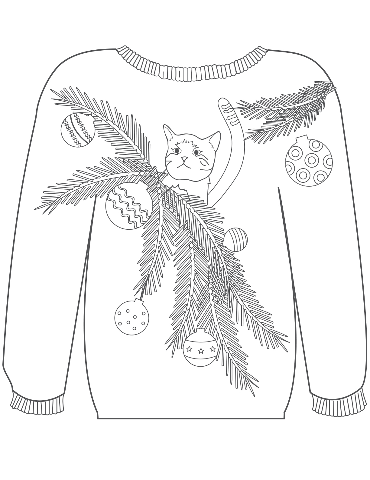 kitten in a tree sweater
