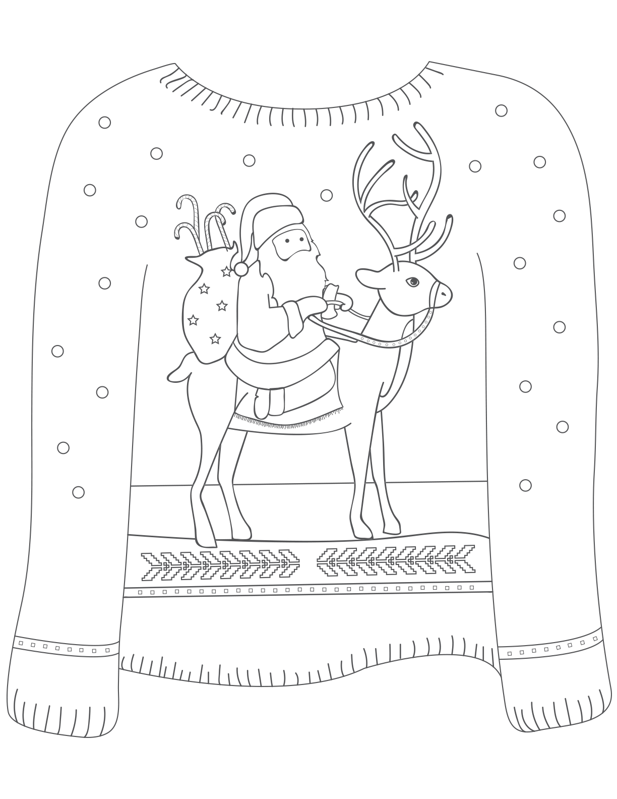 santa on reindeer sweater