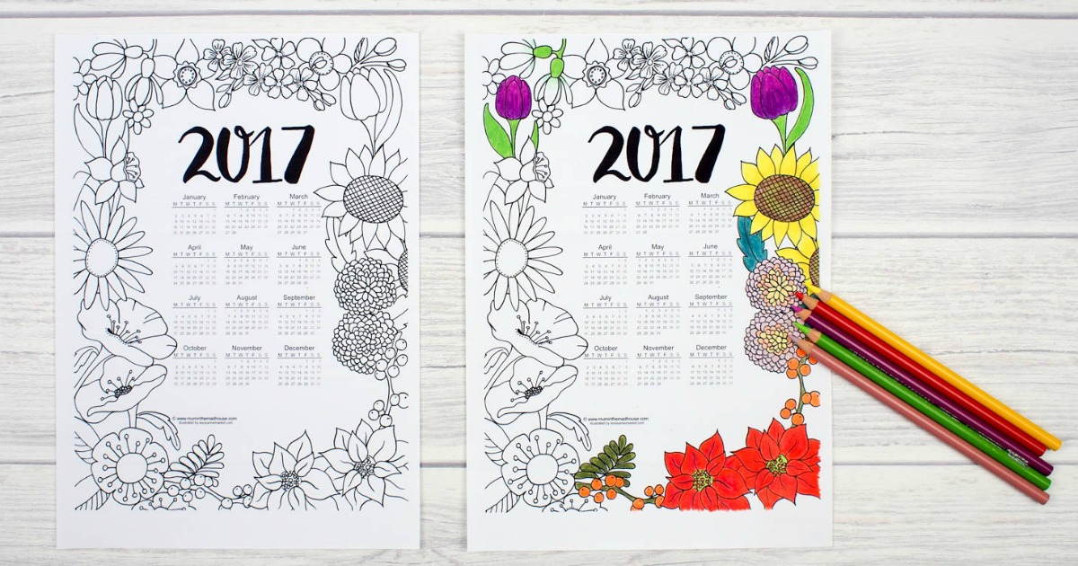 graphic regarding Printable Coloring Calendar called 2017 Floral Colouring Calendar - Mum Inside of The Madhouse