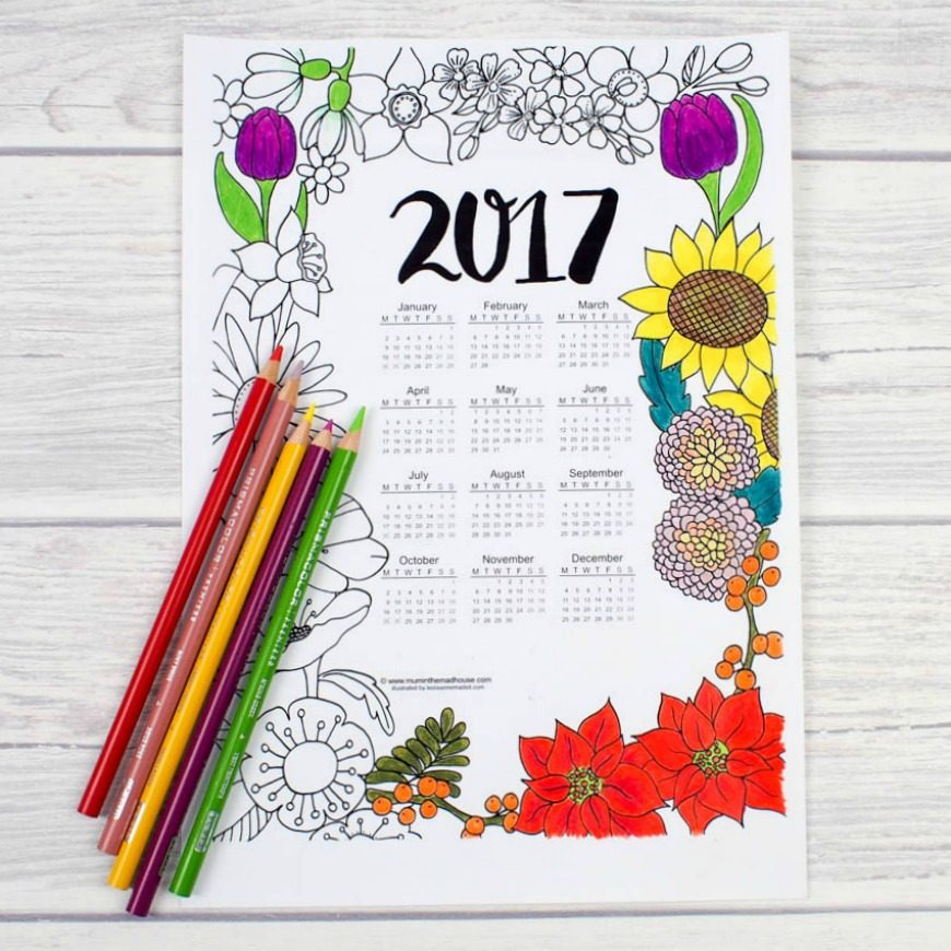 2017 Floral Colouring Calendar - Mum In The Madhouse