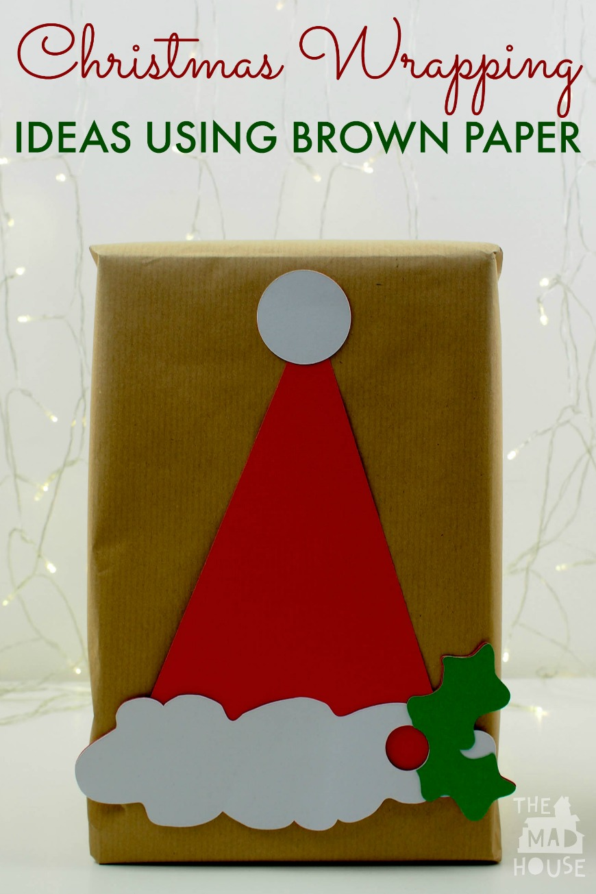 Make family and friends smile with these clever Christmas wrapping ideas for brown paper with Christmas photo booth props that can be reused.