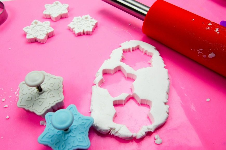 Glow in the Dark Clay Snowflake Ornaments