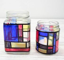 Mondrian Inspired Jar Luminaries