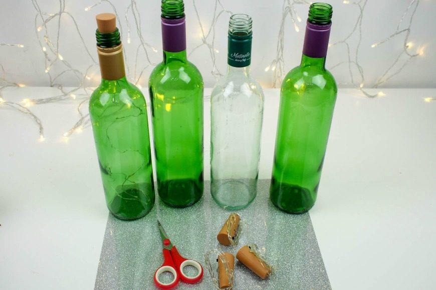 Simple new year craft diy wine bottle lights mum in for Wine bottle material