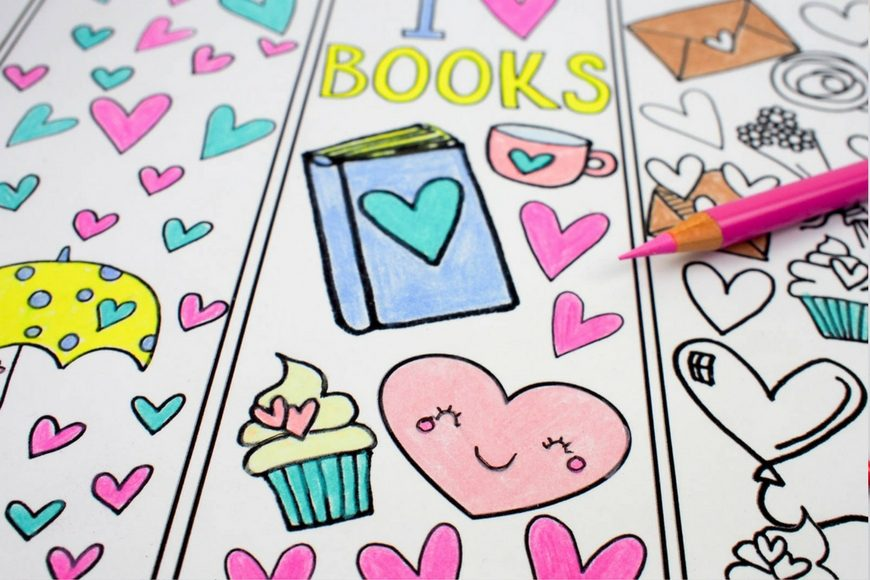 Love Books Free Colouring Bookmarks