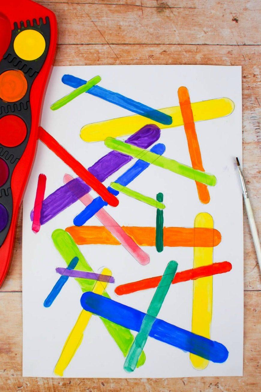 Trace craft sticks to create a beautiful piece of process art. Craft stick process art is a super fun kids craft activity.